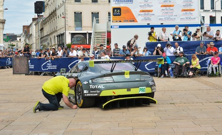 le cap: LE MANS, FRANCE - JUNE 11, 2017: Weighing, administrative and technical checks of the race cars for competition 24 hours of Le mans. Team of Aston Martin racing car