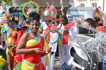 LE MANS, FRANCE - APRIL 22, 2017: Festival Evropa Europe jazz A carribean woman in costume