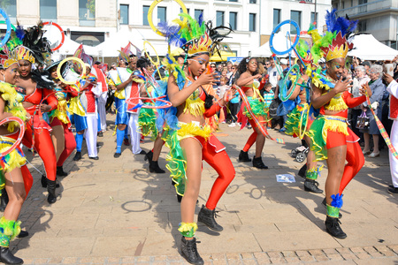 LE MANS, FRANCE - APRIL 22, 2017: Festival Evropa Europe jazz The caribbean women dancing in costumes in downtown Editorial
