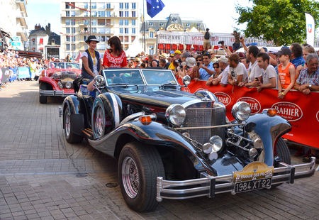 LE MANS, FRANCE - JUNE 13, 2014:Parade of pilots racing.Presentation of Excalibur car in Le Mans, France.