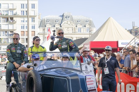 le cap: LE MANS, FRANCE - JUNE 16, 2017: Nicki Thiim Richie Stanaway Marco Sorensen Aston Martin racing team. Parade of pilots racing 24 hours in Le mans, France