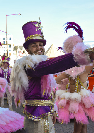 LE MANS, FRANCE - JUNE 16, 2017: Brazilian man dancing at a parade of pilots racing in Le mans,France.