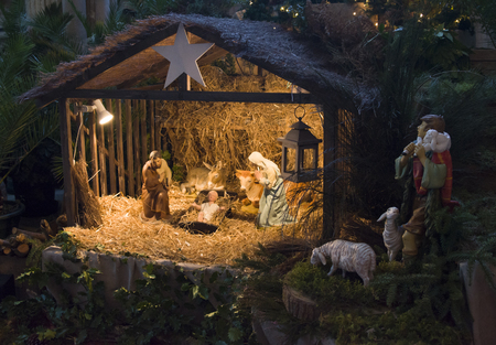 Christmas creche with Joseph Mary and Jesus Stock Photo - 90537650
