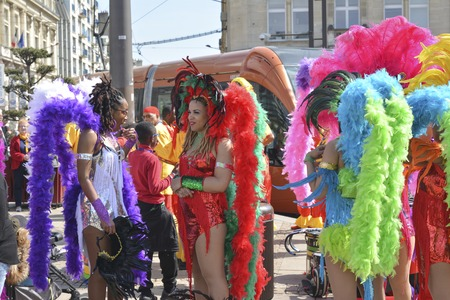 LE MANS, FRANCE - APRIL 22, 2017: Festival Evropa Europe jazz The caribbean women in costumes in downtown