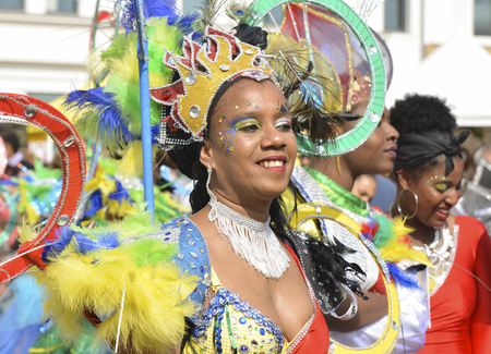 LE MANS, FRANCE - APRIL 22, 2017: Festival Europe jazz A woman dancing in Caribbean costumes