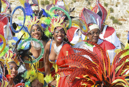 LE MANS, FRANCE - APRIL 22, 2017: Festival Europe jazz. Dance women ready to be photographed in Caribbean costumes