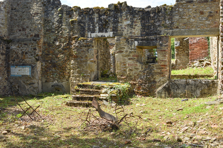 Destroyed kitchen or room in the house during World War 2 at Oradour-sur-Glane France