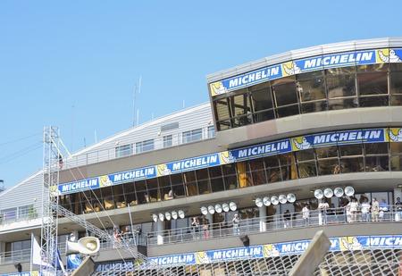 LE MANS, FRANCE - JUNE 18, 2017: Glazed viewing stands on the Racetrack Motodrom for spectators