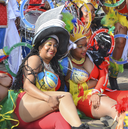 LE MANS, FRANCE - APRIL 22, 2017: Festival Europe Europe jazz A carribean woman in costume