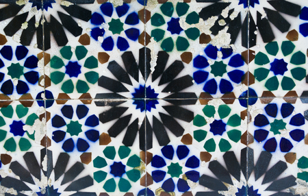 Old tiles of Portugal, detail of a classic ceramic tiles azulejo, art of Portugal Stock fotó