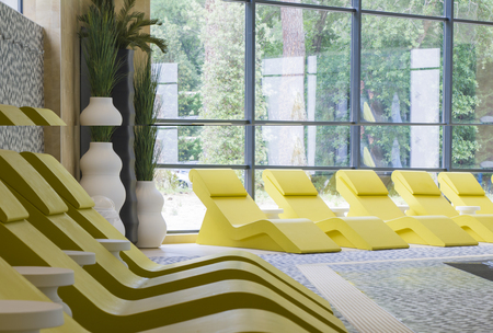 Row of yellow chaise longue for relax Banque d'images