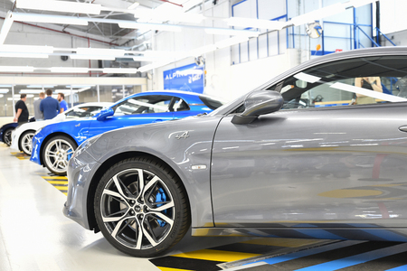 DIEPPE, FRANCE - JUNE 30, 2018: The new model of the sports car Alpine A110 is exhibited at the factory. Renault Alpine car 新聞圖片