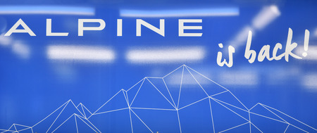 DIEPPE, FRANCE - JUNE 30, 2018: Banner signboard at the Alpine factory ALPINE IS BACK