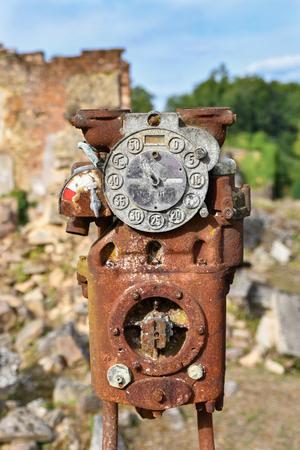 Old Gas Pump in a city Oradour sur Glane France