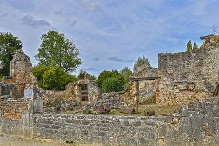 Destroyed building during World War 2 in Oradour- sur -Glane France