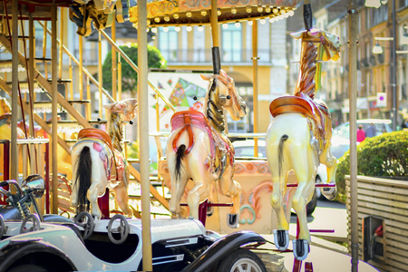 French vintage retro colorful carousel with lights
