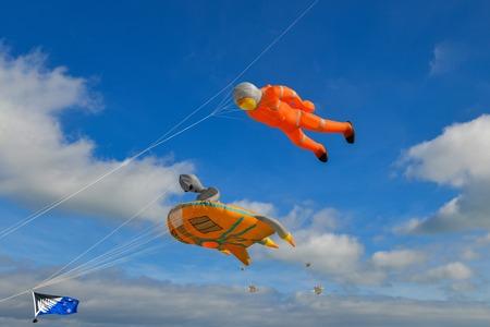Kite festival. Kites in the sky in Atlantic ocean