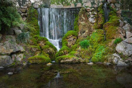 Beautiful waterfall in the park long exposure