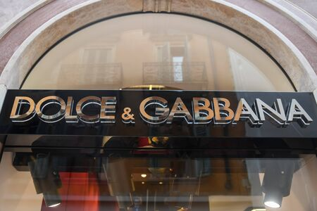 VERONA, ITALY - AUGUST 15, 2019: A store sign with the name Dolce and Gabbana. Italian designers Domenico Dolce and Stefano Gabbana