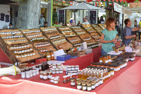 BEDOIN, FRANCE - AUGUST 1, 2016: French pasteurized and canned foods at the market at Provence Editorial