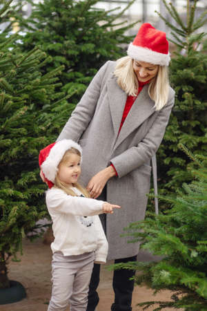 Mother and daughter choose a Christmas tree at a market. Foto de archivo
