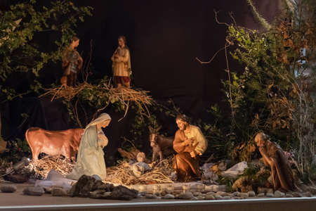 Christmas creche with Joseph Mary and small Jesus Foto de archivo
