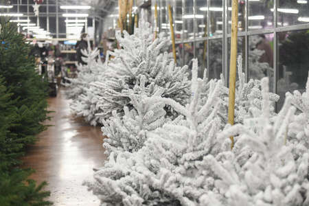 White christmas artificial trees for sale on a shop