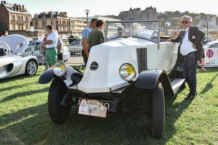 DIEPPE, FRANCE - SEPTEMBER 01, 2018: Dashboard of Vintage french car Renault at Dieppe