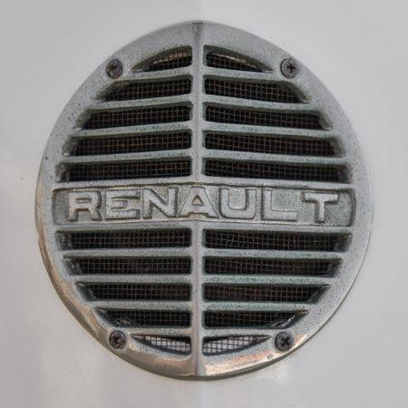 DIEPPE, FRANCE - SEPTEMBER 01, 2018: Emblem Logo Renault of an old vintage retro car