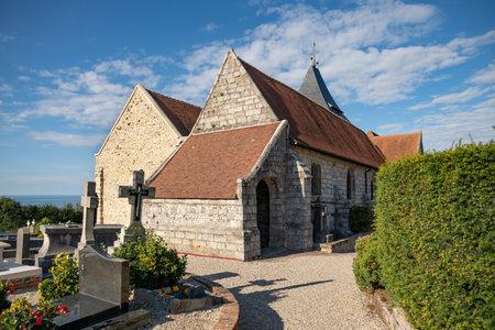 Church Saint Valery and graveyard at Varangeville sur mer Foto de archivo