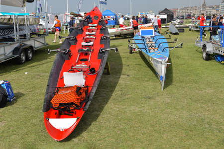 DIEPPE, FRANCE - MAY 25, 2019: French Rowing Championship. Water Rowing boats on the grass.