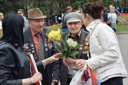 PYATIGORSK, RUSSIA - MAY 09, 2017: Congratulations on the Victory Day celebrationon of veterans