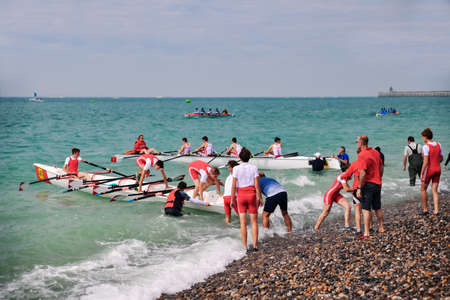 DIEPPE, FRANCE - MAY 25, 2019: French Rowing Championship. Water Rowing boats Editorial