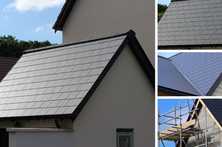 pitched roof: Slate roofing tiles on UK roof Stock Photo
