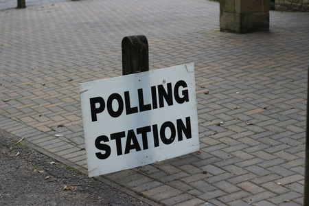 voters: Polling Station Centre Sign For Voters