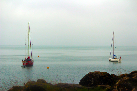 Sailing Boats  Moored at Babbacombe Beach, Devon
