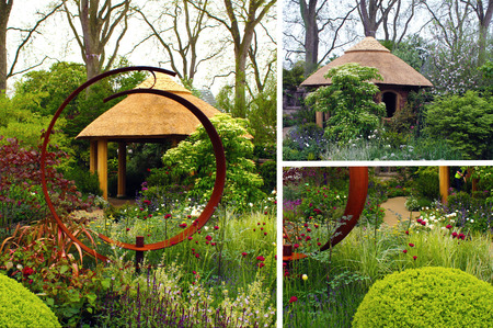 Thatched garden structure in garden