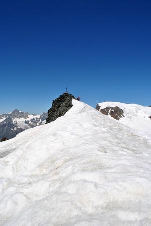 saas fee: final ridge of allalinhorn summit
