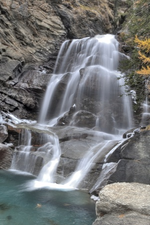 lillaz waterfall in gran paradiso national park hdr photo