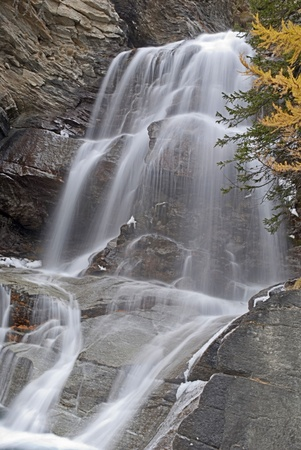 lillaz waterfall in gran paradiso national park hdr photo