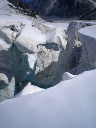 blanche: crevasse on the glacier of vallee blanche Stock Photo