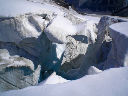 crevasse: crevasse on the glacier of vallee blanche Stock Photo