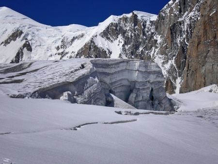 blanche: serac on the glacier of vallee blanche Stock Photo