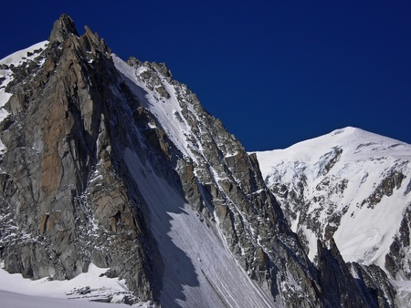 blanche: peaks on vallee blanche on mont blanc