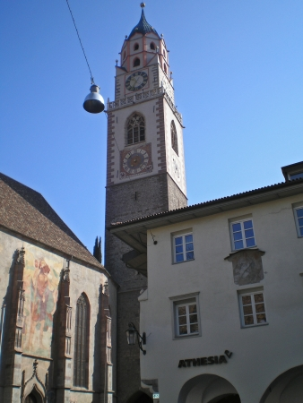 meran: bell tower of the cathedral of meran
