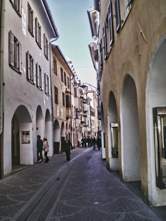 meran: narrow street in meran downtown Editorial