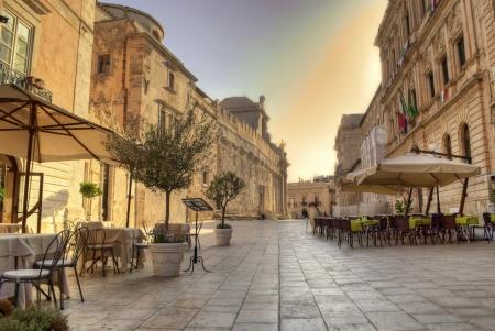main street in siracusa downtown Banco de Imagens