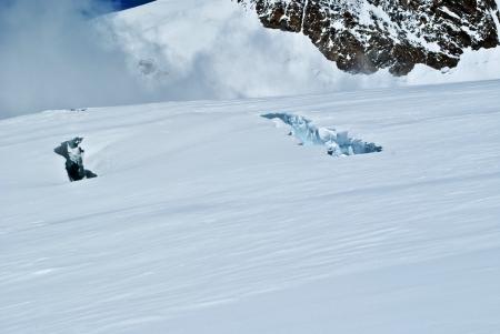 crevasse: crevasses on lys glacier Stock Photo
