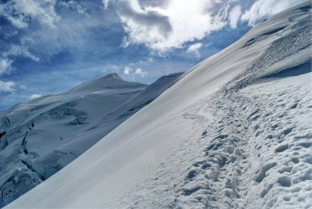 serac: climbing weissmies in swiss alps