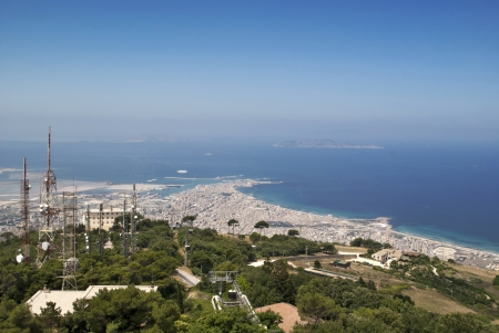 trapani: landscape of trapani from erice Stock Photo